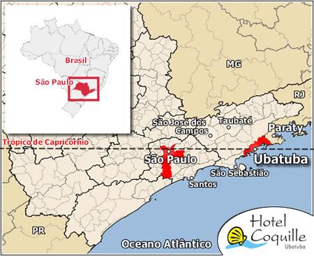Localização de Ubatuba no Mapa de São Paulo